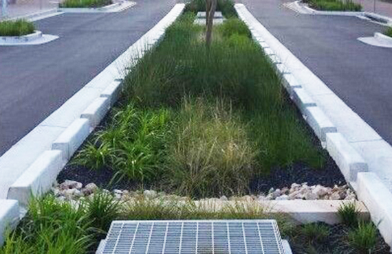 storm water management reports example of cut out curbing