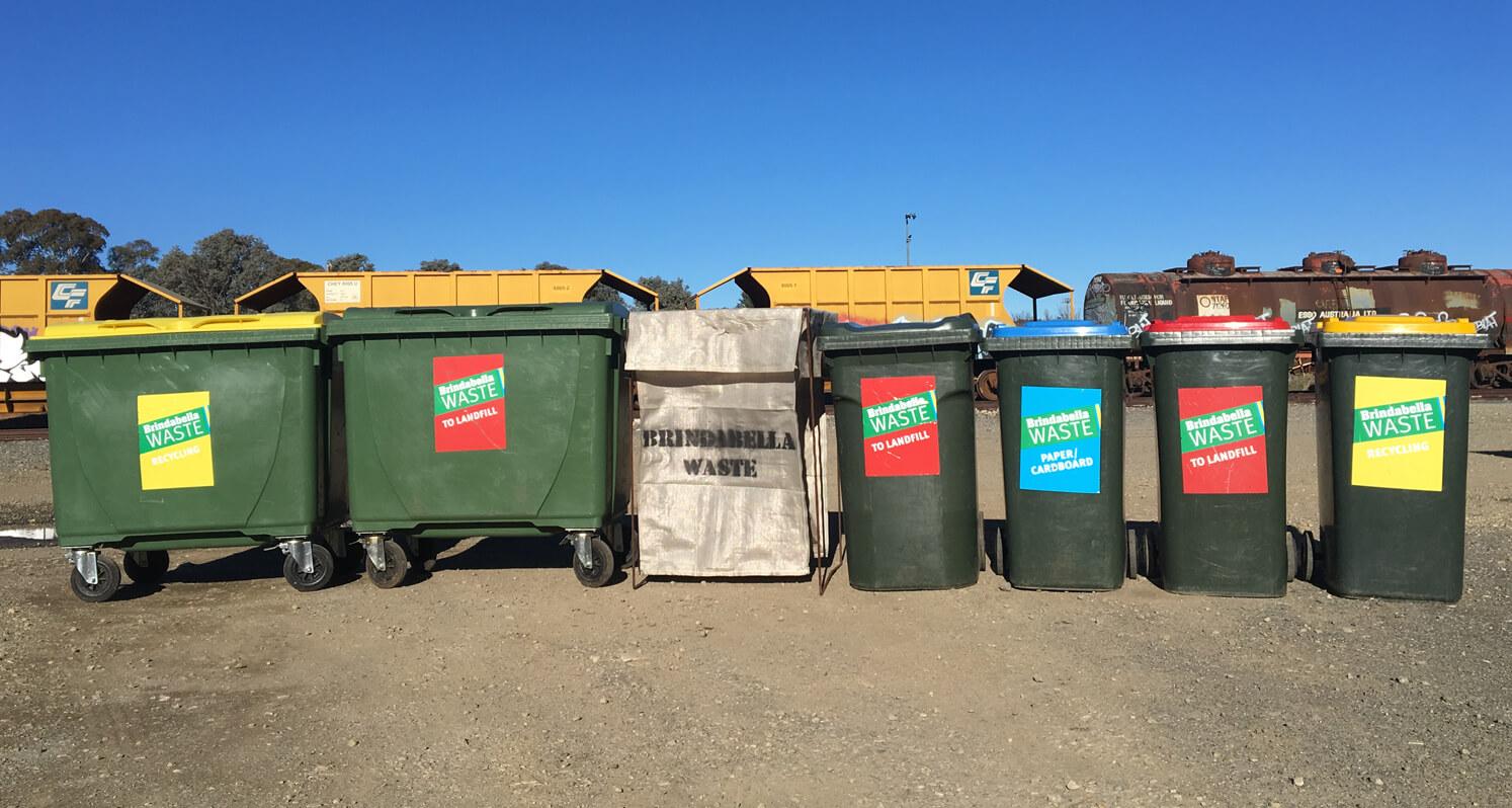 Brindabella waste separated recycling bins