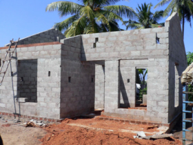 14. The progression of individual dwellings being built showing block work walls
